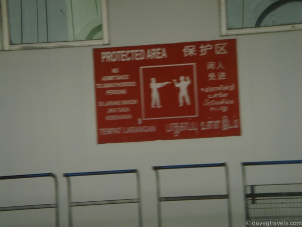 Restricted areas are very serious here. They'll point at you and you have to put your arms up.