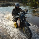 15 DRZ Adventure Touring Water Crossing Laos